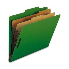 "Nature Saver 2-divider Letter Classification Folders - Letter - 8 1/2"" x 11"" Sheet Size - 2"" Fastener Capacity for Folder - 2 Divider(s) - 25 pt. Folder Thickness - Green - Recycled - 10 / Box"