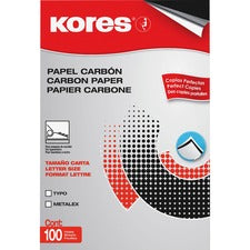 "Industrias Kores Paper Carbon - 100 Sheets - Letter - 8.50"" x 11"" - Black - 100 / Box"