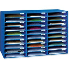 "Classroom Keepers 30-Slot Mailbox - 30 Pocket(s) - Compartment Size 1.80"" x 12.50"" x 10"" - 21"" Height x 31.6"" Width x 12.8"" Depth - Recycled - Blue - 1Each"