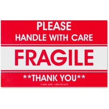 "Tatco Fragile/Handle With Care Shipping Label - ""Fragile - Handle with Care"", ""Thank You"" - 3"" Width x 5"" Length - Rectangle - 3"" Core - Red - 500 / Roll - 500 / Roll"