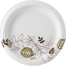 "Dixie Pathways Heavyweight Paper Plates - 125 / Pack - 8.50"" Diameter Plate - Paper - Microwave Safe - White - 500 Piece(s) / Carton"