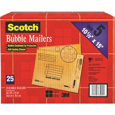 "Scotch Bubble Mailers - Bubble - #5 - 10 1/2"" Width x 16"" Length - Self-adhesive Seal - Kraft Paper - 25 / Carton - Tan"