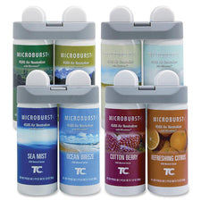 Rubbermaid Commercial Microburst Duet Fragrance Refills - Oil - Cotton Berry, Refreshing Citrus, Ocean Breeze, Sea Mist, Alpine Sping, Mountain Peaks, Gentle Breeze, Linen Fresh - 180 Day - 4 / Carton