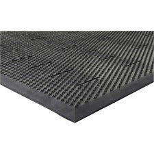 "Genuine Joe Free Flow Comfort Anti-fatigue Mat - 48"" Length x 36"" Width x 0.50"" Thickness - Rubber - Black"