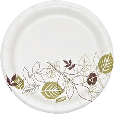 "Dixie Pathways Heavyweight Small Paper Plates - 125 / Pack - 5.88"" Diameter Plate - Paper Plate - Microwave Safe - White, Brown, Green - 500 Piece(s) / Carton"