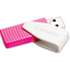 Verbatim 16GB Swivel USB Flash Drive - Hot Pink - 16 GB - Hot Pink - 1 Pack - Capless, Swivel""