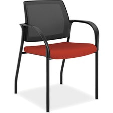 "HON Ignition Multi-Purpose Stack Chair - Fabric Crimson Red Seat - Steel Frame - Four-legged Base - Nylon - 18.50"" Seat Width x 18.13"" Seat Depth - 21.8"" Width x 25"" Depth x 33.5"" Height"