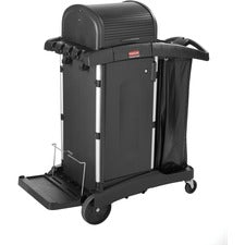 "Rubbermaid Commercial High Security Cleaning Cart - Aluminum, Plastic - 22"" Width x 48.3"" Depth x 53.5"" Height - Black"