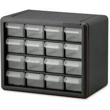 "Akro-Mils 16-Drawer Plastic Storage Cabinet - 16 Drawer(s) - 8.5"" Height x 6.4"" Width10.5"" Length - Floor, Wall Mountable - Black, Clear - Polymer, Plastic - 1Each"