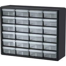 "Akro-Mils 24-Drawer Plastic Storage Cabinet - 24 Drawer(s) - 15.8"" Height6.4"" Depth x 20"" Length - Floor, Wall Mountable - Black, Clear - Plastic, Polymer - 1Each"