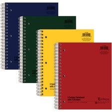 "Ampad Oxford College - Ruled 5 - subject Notebook - Letter - 240 Sheets - Twin Wirebound Red Margin - 8 1/2"" x 11"" - White Paper - Assorted Cover - Rigid, Divider, Hard Cover, Divider, Subject - Recycled - 1Each"