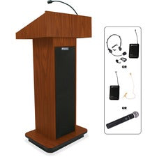 "AmpliVox Wireless Executive Sound Column Lectern - 20.75"" Table Top Width x 16.50"" Table Top Depth - 47"" Height x 22"" Width x 18"" Depth - Assembly Required - High Pressure Laminate (HPL)"