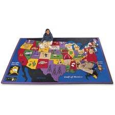 "Carpets for Kids Discover America U.S. Map Area Rug - Kids - 99.96"" Length x 11.67 ft Width - Rectangle"
