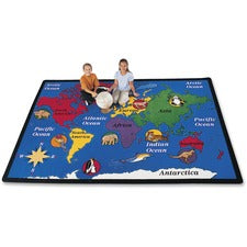 "Carpets for Kids World Explorer Geography Area Rug - 99.96"" Length x 11.67 ft Width - Rectangle"