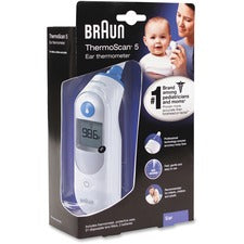 Braun Honeywell ThermoScan 5 Ear Thermometer - Memory Recall - For Ear - White, Blue