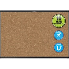 "Quartet Prestige 2 Magnetic Bulletin Board - 36"" Height x 48"" Width - Brown Cork Surface - Magnetic, Durable, Self-healing - Black Aluminum Frame - 1 / Each"