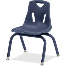 "Berries Stacking Chair - Steel Frame - Four-legged Base - Navy - Polypropylene - 19.5"" Width x 21"" Depth x 29.5"" Height - 1 Each"