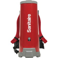 "Sanitaire 10Q Backpack Vacuum - 1.50 gal - 14"" Cleaning Width - 60"" Hose Length - HEPA - Red"