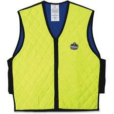 Ergodyne Chill-Its Evaporative Cooling Vest - Comfortable, High Visibility, Ventilation, Stretchable, Water Repellent, Lightweight, Durable, Washable, Reusable, Zipper Closure - Large Size - Polymer, Nylon - Lime - 1 / Each