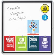 "Quartet® Enclosed Magnetic Whiteboard for Outdoor Use, 38"" x 39"" or 12 Sheets, 1 Swing Door, Aluminum Frame - 38"" (3.2 ft) Width x 39"" (3.3 ft) Height - White Painted Steel Surface - Silver Aluminum Frame - Horizontal - 12 Sheets/Pad - 1 / Each"
