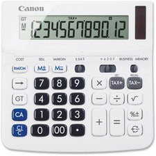 "Canon TX-220TS Handheld Display Calculator - Tilt Display, Adjustable Display, Dual Power, Easy-to-read Display, Auto Power Off, Sign Change - Battery/Solar Powered - 1.2"" x 5.7"" x 5.7"" - White - 1 Each"