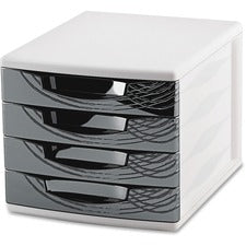 "CEP Origins Collection Desktop Sorting Module - 2000 x Sheet - 4 Drawer(s) - 10.4"" Height x 11.8"" Width x 14.5"" Depth - Desktop - White, Black - Polystyrene, Rubber - 1Each"