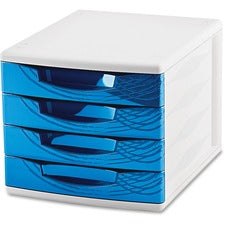 "CEP Origins Collection Desktop Sorting Module - 2000 x Sheet - 4 Drawer(s) - 10.4"" Height x 11.8"" Width x 14.5"" Depth - Desktop - White, Blue - Polystyrene, Rubber - 1Each"