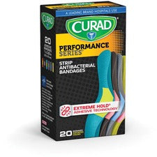 "Curad Colored Antibacterial Bandages - 1"" x 3.75"" - 20/Box - Assorted - Fabric"
