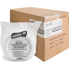 "Genuine Joe Reusable Plastic White Plates - 125 / Pack - 9"" Diameter Plate - Plastic - Serving - Disposable - White - 500 Piece(s) / Carton"