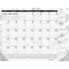 House of Doolittle Doodle Monthly Desk Pad - Yes - Monthly - January 2019 till December 2019 - 1 Month Single Page Layout - Desk Pad - Black/White - Notes Area, Reference Calendar