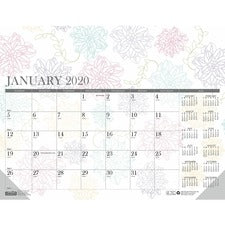 House of Doolittle Whimsical Doodle Monthly Desk Pad - Yes - Monthly - 1 Year - January 2019 till December 2019 - 1 Month Single Page Layout - Gummed - Desk Pad - Reference Calendar
