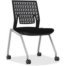 "Mayline Thesis - Flex Back, Armless - Black Fabric Seat - Poly Back - Gray Frame - Four-legged Base - 18.25"" Seat Width x 17.50"" Seat Depth - 21.3"" Width x 21.3"" Depth x 33"" Height - 2 / Carton"