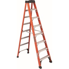 "Louisville 8 ft Fiberglass Step Ladder - 7 Step - 375 lb Load Capacity96"" - Orange"