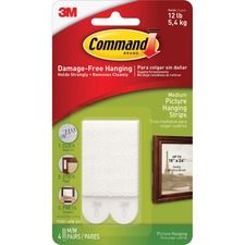 "Command™ Medium Picture Hanging Strips - 0.63"" Width x 2.75"" Length - Foam - Residue-free - 4 Sets of Strips/Pack"