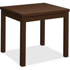"HON Laminate End Table, 24""L x 20""W - 24"" x 20"" x 20"" , 1"" Edge, 20"" x 20""Work Surface, 1.1"" Top - Band Edge - Material: Wood Grain Work Surface, Particleboard Top - Finish: Thermofused Laminate (TFL), Mocha"