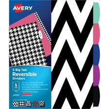 "Avery® Big Tab Reversible Fashion Dividers - 10"" (0.8 ft) Width x 10"" (0.8 ft) Length - 5 / Set"