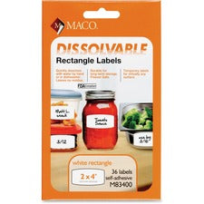 "Maco Dissolvable Labels - 4"" Width x 2"" Length - Rectangle - White - 36 / Box"