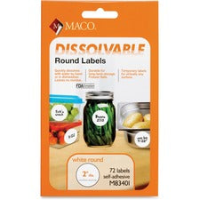 "Maco Dissolvable Labels - 2"" Diameter - Round - White - 72 Total Label(s) - 72 / Box"