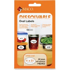 "Maco Dissolvable Labels - 1 1/2"" Width x 2 1/2"" Length - Oval - Laser, Inkjet - White - 48 Total Label(s) - 48 / Box"