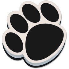 Ashley Paw Shaped Magnetic Whiteboard Eraser - Used as Mark Remover - Magnetic, Lightweight - Black, White - 1Each