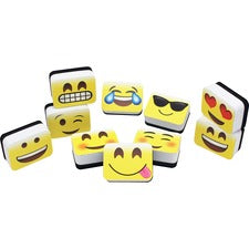"Ashley Emojis Mini Whiteboard Eraser - 2"" Width x 1.25"" Length - Lightweight, Comfortable Grip - Multicolor - 10 / Pack"