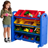 "ECR4KIDS 4tier/12bin Storage Organizer - 4 Tier(s) - 33"" Height x 37.5"" Width x 18.5"" Depth - Blue - Plastic, Metal - 1Each"