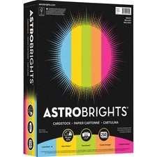 "Astrobrights Laser, Inkjet Print Printable Multipurpose Card Stock - 30% Recycled - 8 1/2"" x 11"" - 250 / Pack - Lunar Blue, Solar Yellow, Terra Green, Fireball Fuschia, Cosmic Orange"