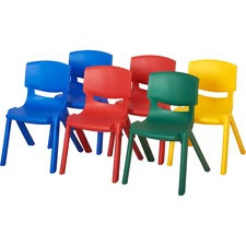 "ECR4KIDS 12"" Assorted Resin Chair Pack, 6 Piece - Four-legged Base - Blue, Red, Green, Yellow - Plastic, Resin, Polypropylene - 15.3"" Width x 15.3"" Depth x 21.6"" Height - 6 / Carton"