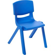 "ECR4KIDS 14"" Resin School Stack Chair - Four-legged Base - Blue - Polypropylene Resin, Plastic - 13.8"" Width x 16"" Depth x 22.8"" Height - 6 / Carton"