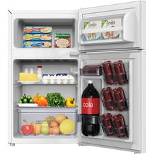 Avanti RA31B0W 3.1 Cubic Foot 2-door Compact Refrigerator - 3.10 ft³ - Auto-defrost - Reversible - 2.10 ft³ Net Refrigerator Capacity - 1 ft³ Net Freezer Capacity - 120 V AC - 320 kWh per Year - White - Freestanding