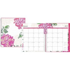"Blue Sky Dahlia Weekly/Monthly Planner - Julian Dates - Weekly, Monthly - 1 Year - January till December - 10"" x 8"" Sheet Size - Wire Bound - Multicolor - Durable, Tabbed, Appointment Schedule, Bleed Resistant, Double-sided, Storage Pocket - 1 Each"