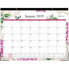 "Blue Sky Dahlia Desk Pad - Julian Dates - 1 Year - January till December - 22"" x 17"" Sheet Size - Desk Pad - Multi - Bleed Resistant, Notes Area, Appointment Schedule, Reminder Section - 1 Each"
