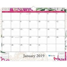 "Blue Sky Dahlia Wall Calendar - Julian Dates - Monthly - 1 Year - January till December - 15"" x 12"" Sheet Size - Wall Mountable - Multi - Bleed Resistant, Notes Area, Reminder Section, Appointment Schedule - 1 Each"