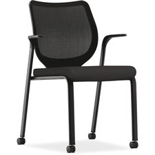 "HON Nucleus Multi-Purpose Stacking Chair - Black Polyester Seat - Steel Frame - Four-legged Base - 19"" Seat Width x 19"" Seat Depth - 27"" Width x 26.3"" Depth x 37.1"" Height - 1 Each"